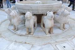 Alhambra moorish courtyard lions fountain statue granada andalusia spain Stock Photos
