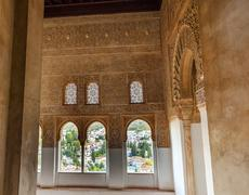 alhambra moorish wall designs city view granada andalusia spain - stock photo