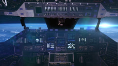 0163 Inside Space Shuttle going pass the Earth, Moon and Sun, HD - stock footage