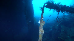 Ocean scenery WWII, World War 2 Japanese freighter, on wreckage, HD, UP27999 - stock footage