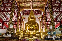 buddha statue in wat suandok , chiangmai thailand - stock photo