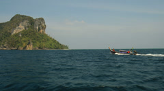 Traditional Long-tail boat tour. Coast of Krabi, Thailand. Stock Footage