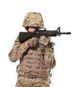 Modern soldier with rifle Stock Photos