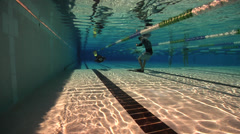Freediving course, swimming pool, underwater, HD, UP29106 Stock Footage