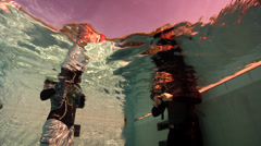 Freediving course, swimming pool, underwater, HD, UP29111 Stock Footage