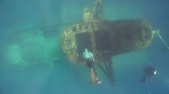 Freediver diving on wreckage in Australia, HD, UP29124 Stock Footage