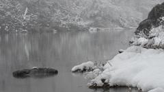 Landscape, lago Sant'Agostino, Italia, snow, snowfall Stock Footage
