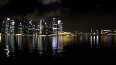4K (3840 x2160) Night cityscape time lapse. View from Marina Bay Singapore. Stock Footage