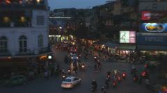 Vehicle traffic at night Ba Dinh square illuminated Hanoi North Vietnam Stock Footage