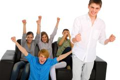 teenagers rejoicing - stock photo