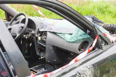 details of a car an accident - stock photo