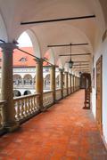Courtyard of niepolomice castle, poland Stock Photos