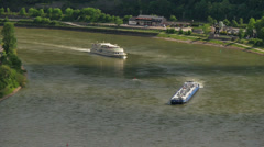 Passanger and cargo ship on the rhein river Stock Footage