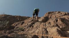Male Rock Climbing Stock Footage
