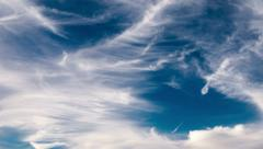 4K. White cirrus clouds moving high over blue sky background. Timelapse. - stock footage