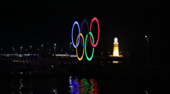 Lights of Olympic rings at night Stock Footage