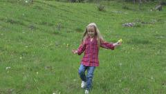 Happy Child Running Down Hill, Trip in Mountains, Little Girl Picking Flowers Stock Footage