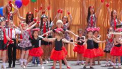 Children dancing pop song on stage at Russian Style Festival in West Hollywood Stock Footage