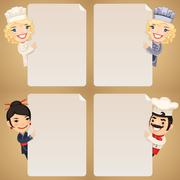Chefs Cartoon Characters Looking at Blank Poster Set Stock Illustration