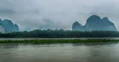4k, the boat on Li river and mountains in Guilin, China Stock Footage