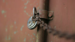 Lock Rusty Chain Red Container - 29,97FPS NTSC - stock footage