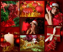 Red collage of Christmas related theme - stock photo