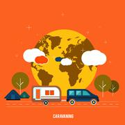 Caravaning near the tree. caravaning tourism. Stock Illustration