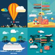 Stock Illustration of icons set of traveling and planning a summer vacation