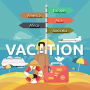 icons set of traveling and planning a summer vacation - stock illustration