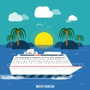 Cruise ship and clear blue water. water tourism. Stock Illustration