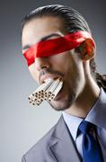 Anti smoking concept with man Stock Photos