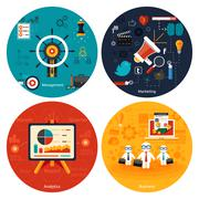 Icons for marketing, management, analytics. Stock Illustration