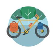Bicycle near the trees. bicycle tourism. Stock Illustration
