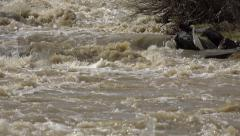 Ultra HD 4K Muddy River in Flood, Flooding by Rain, Storm, Flooded, Calamity - stock footage