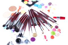 Set of professional makeup brushes and applicators - stock photo