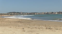 View from platja del cap de sant pere in cambrils toward salou Stock Footage