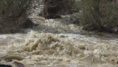 Mountain Muddy River in Flood, Flooding by Rain, Storm, Dam, Flooded, Calamity - stock footage