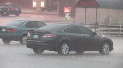 Torrential rain in severe thunderstorm Stock Footage