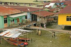 kampong ayer, bandar seri begawan, brunei - stock photo