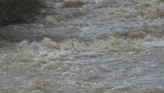 Mountain Muddy River in Flood, Flooding by Rain, Storm, Dam, Flooded, Calamity Stock Footage