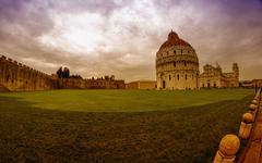 Katedraali, Baptistery ja Pisan torni Miracle neliö Kuvituskuvat