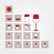 Vector icons. glasses and bottles. bar, and restaurant pictograms. Stock Illustration