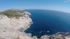 Flight Takeoff on the Cliffs of Cala Rajada - Aerial Flight, Mallorca Stock Footage