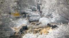 Waterfall in idyllic landscape park garden Stock Footage