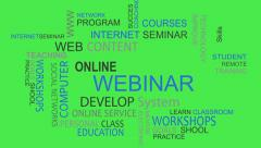 Webinar online develop solutions word tag cloud animation chroma key Stock Footage