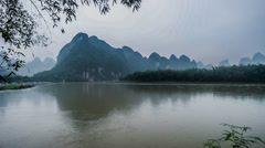 The panorama view of Yangshuo mountains and river, Guangxi Province, China Stock Footage