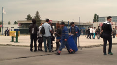 Bucharest, May The 10th, East European Comic Con, People Walking Pan Shot - stock footage