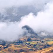 Clouds on the fields of zumbahua in ecuadorian altiplano. highland andes near Stock Photos