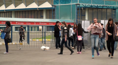Bucharest, May The 10th, East European Comic Con, People Entering The Gates - stock footage