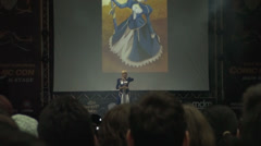 Bucharest, May The 10th, Eastern European Comic Con, Cosplayer On Stage Dancing - stock footage